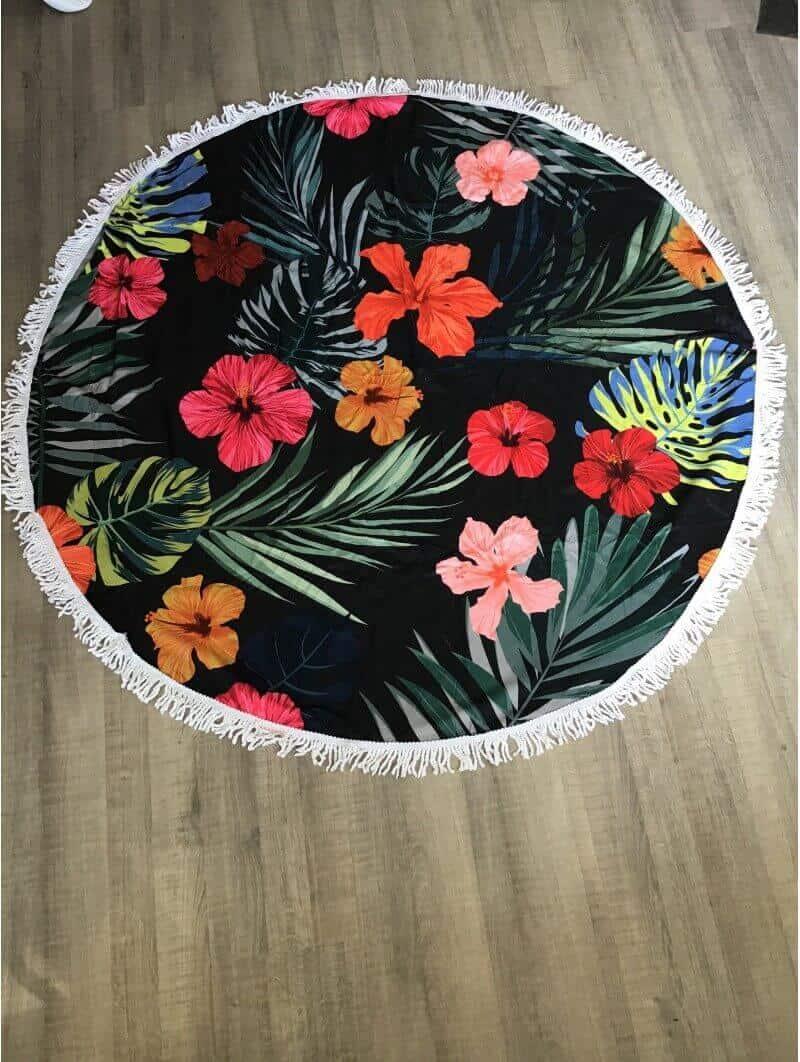 Plage -Serviette de plage ronde fleurs tropical