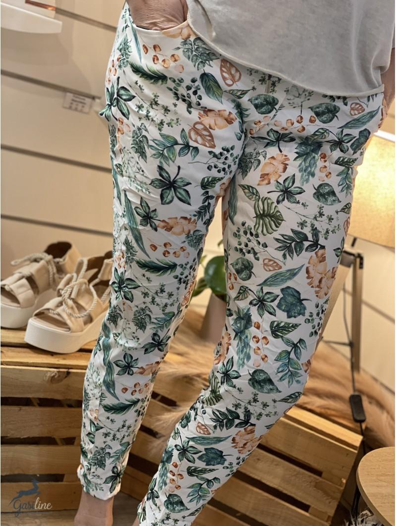 Pantalon élastique imprimé Jade