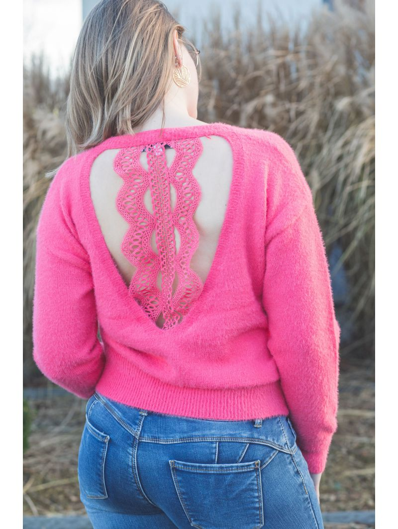 Pull col rond crochet dos