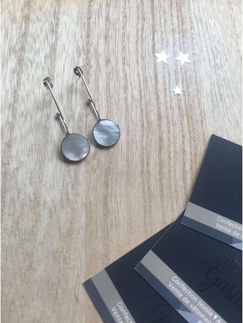 Boucles d'oreilles -BO disque nacre blanche