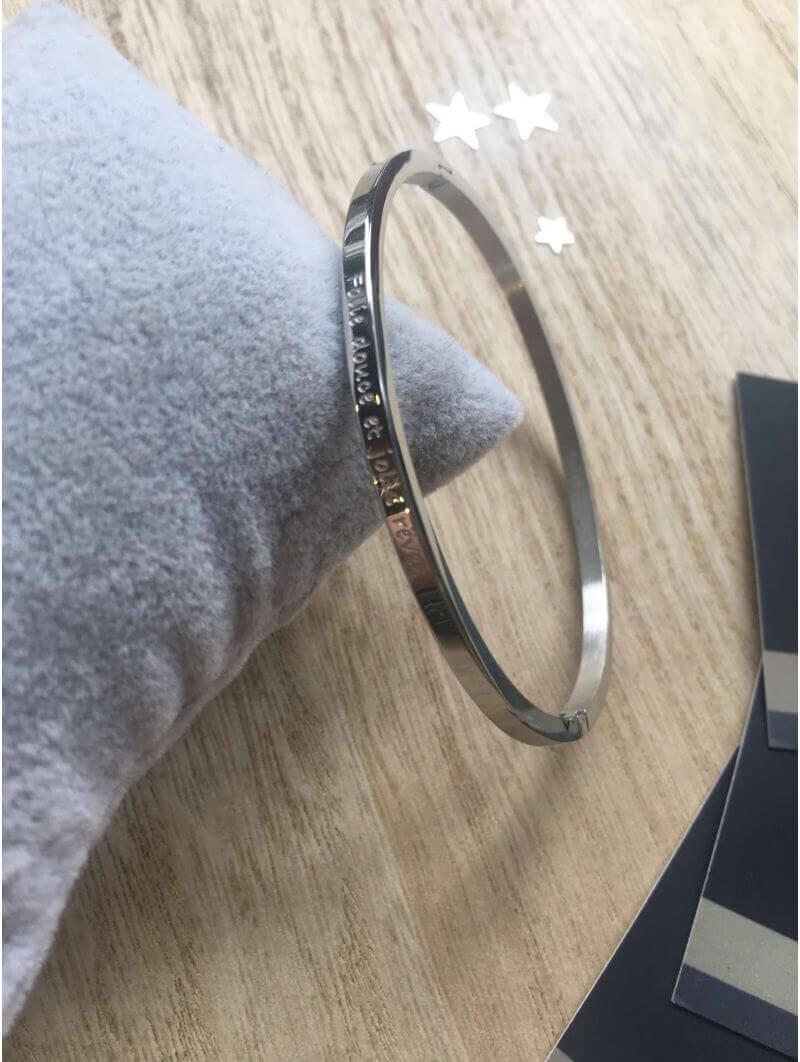 """Bracelets -""""Folie douce et jolis rêves"""" Bracelet métal texte"""