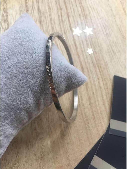 "Bracelets -""Happiness"" Bracelet métal texte"
