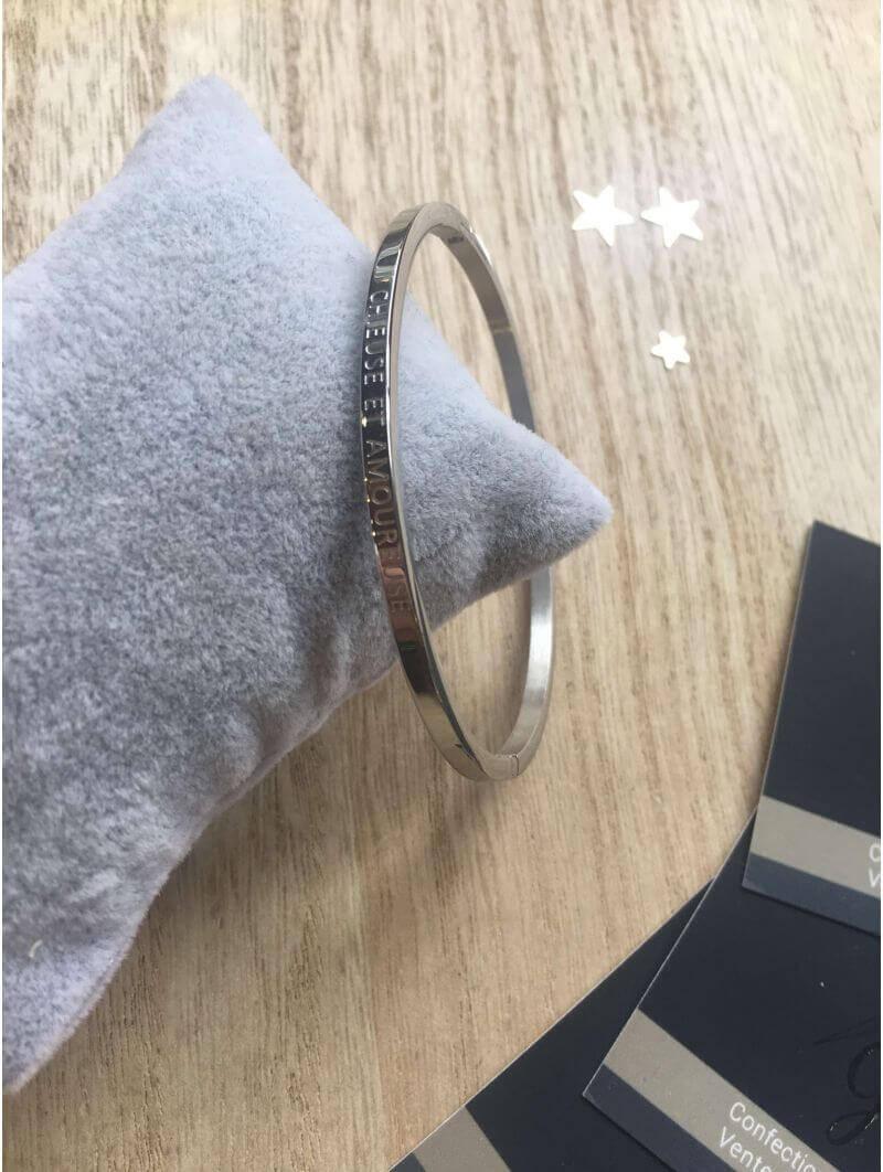 """Bracelets -""""Chieuse et amoureuse"""" Bracelet métal texte"""