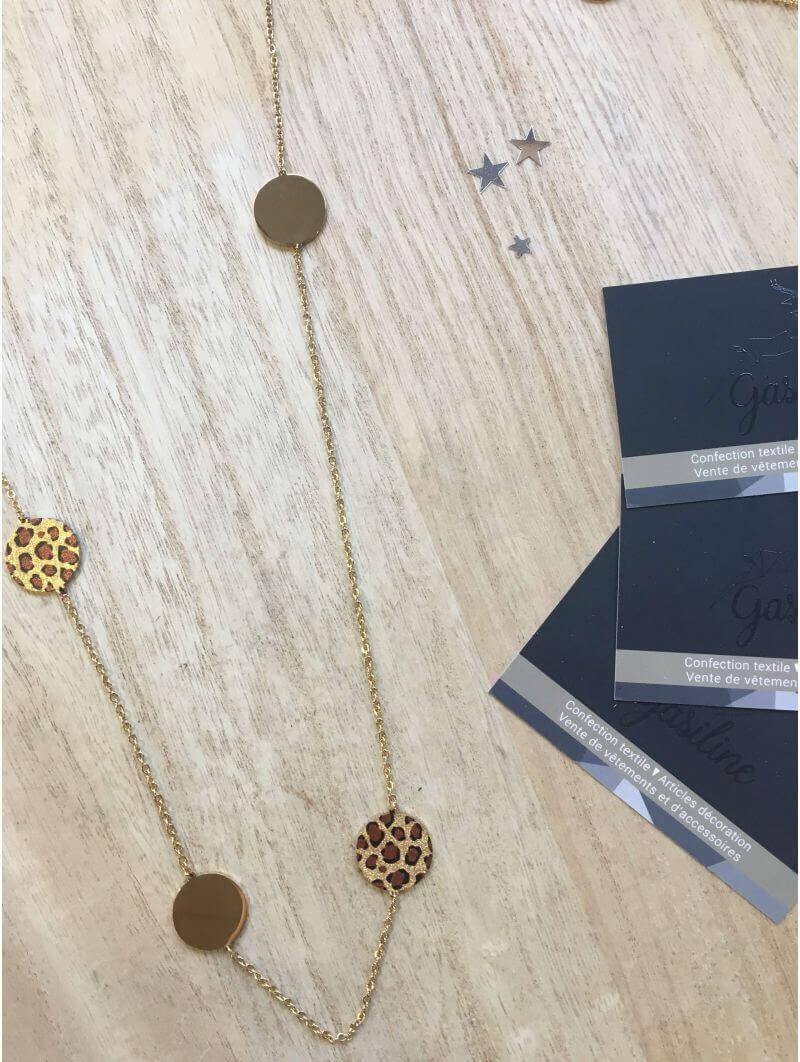 Colliers -Sautoir doré imprimé animal