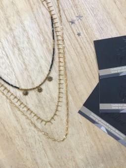 Colliers -Collier à étages perles noires soleil