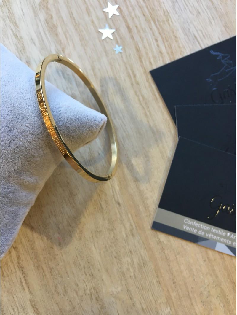 """Bracelets -""""Ma marraine chérie"""" Bracelet métal texte"""