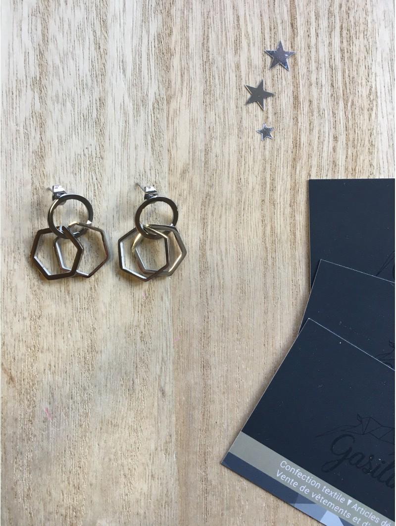 Boucles d'oreilles -BO cercle hexagone barrette