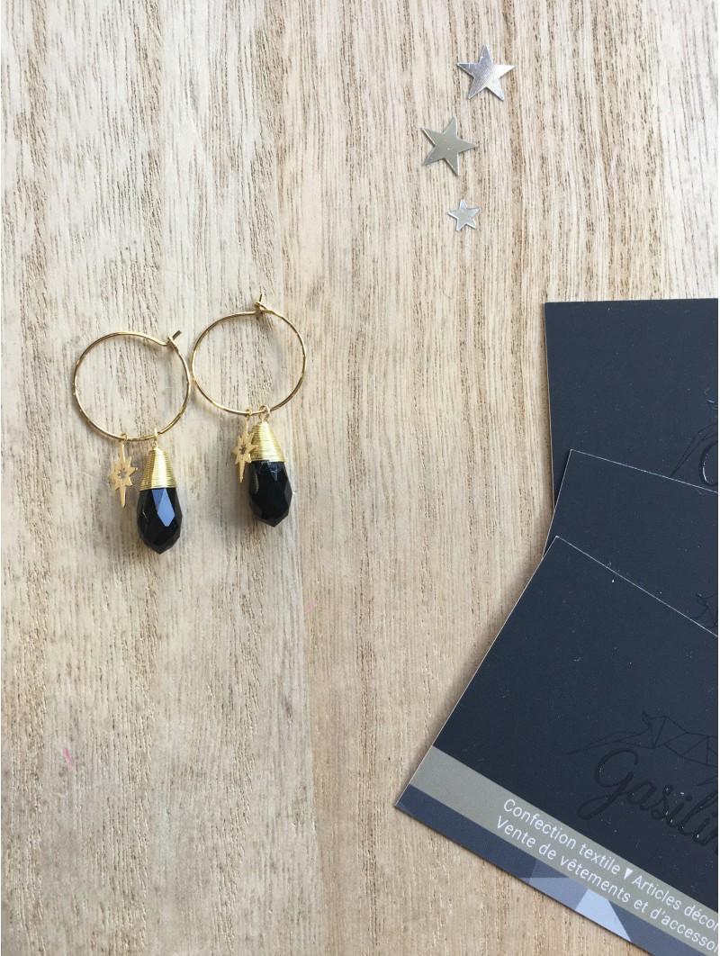Boucles d'oreilles -BO anneau étoile cône noir