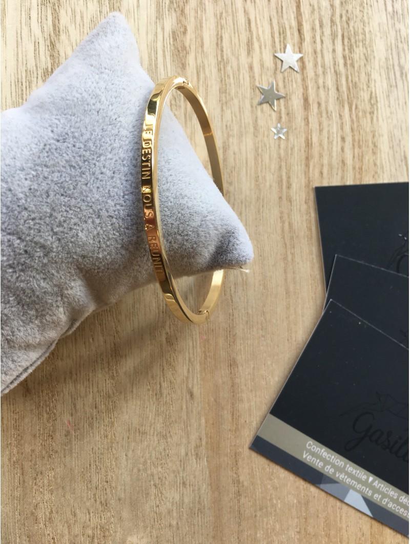 """Bracelets -""""Le destin nous a réunit"""" Bracelet métal texte"""