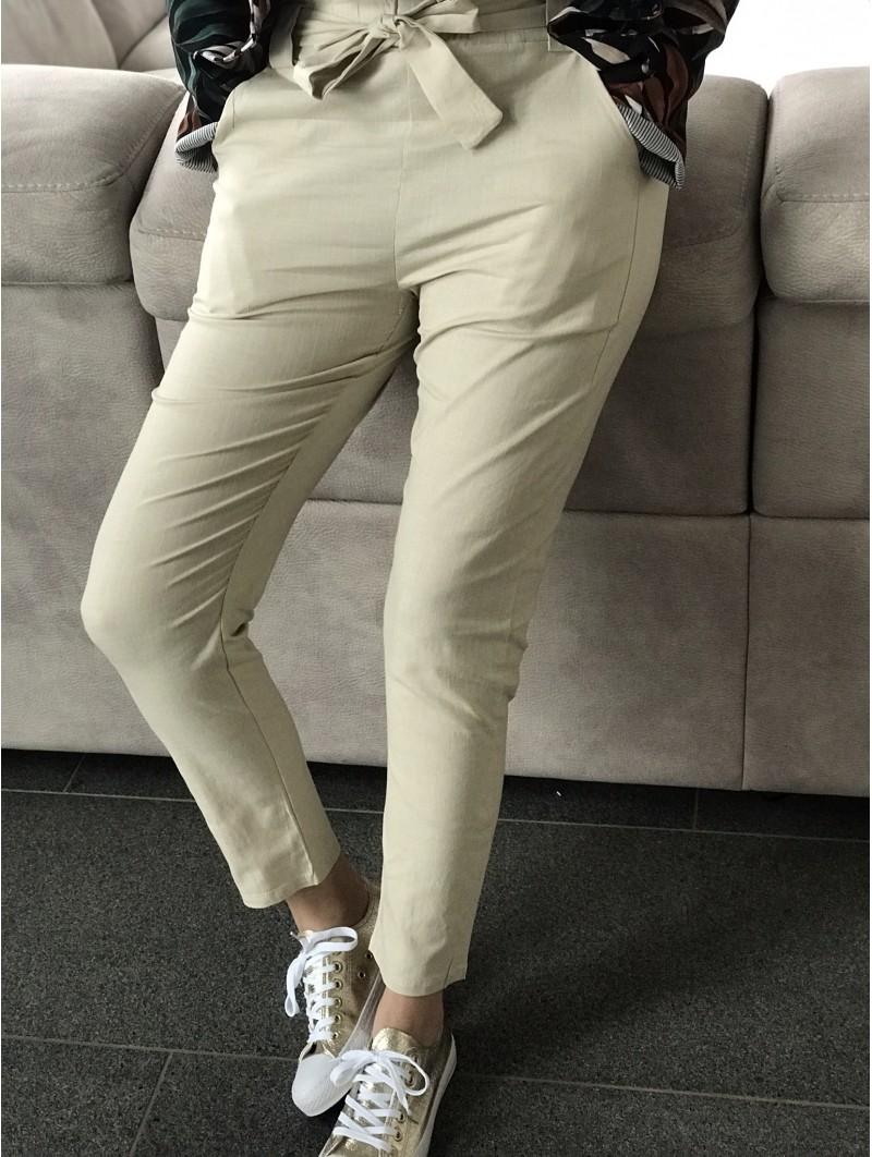Pantalons & Jeans -Pantalon lin ceinture