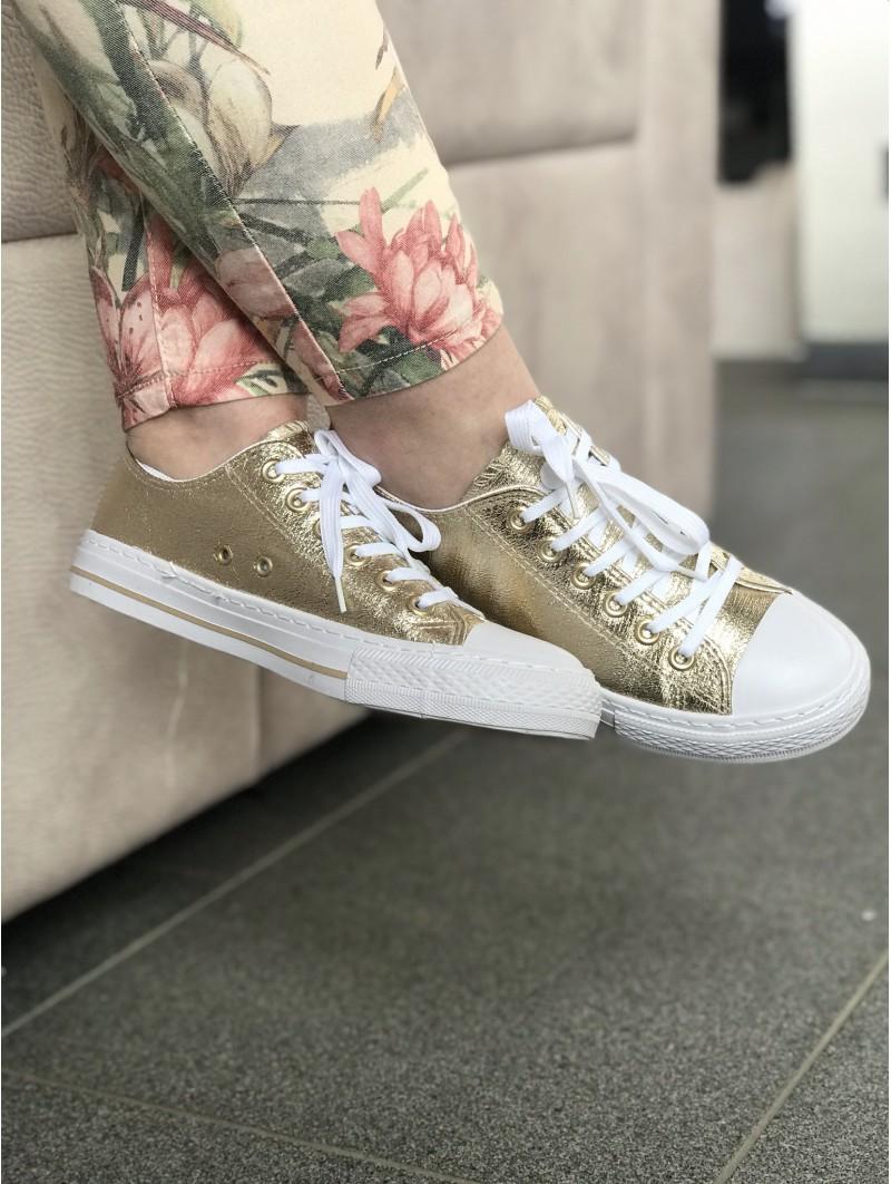 Chaussures -Baskets style converse texture dorée
