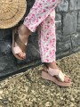 Chaussures -Sandales compensées vieux rose