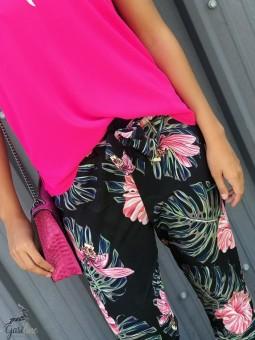 Pantalons & Jeans -Pantalon fleuri taille élastique