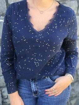 Chemises, Blouses & Tuniques -Blouse manches longues ronds dorés